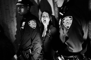 New York, USA - 21.10.2011 : Arrest of protesters in Harlem during a demonstration against police violence and supporting the upper class. (Photo by Tomasz Lazar)