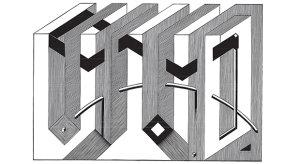 Układ ciągłości czarnego trójkąta, linoryt, 51x74, 2008