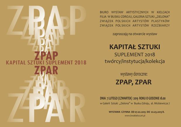 Kapita³ Sztuki ZPAP, ZPAR 18 Zaproszenie  07.02.19