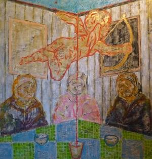Vendég (Guest) enkausztika, vegyes, vászon100x100