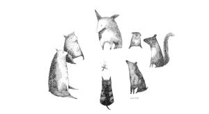 siedem zwierząt siedzi w kole przy ognisku. Ilustracja jest czarno-biała rysowana cienką czarną kreską, tło białe. Zwierzęta wyglądają jak by ze sobą rozmawiały.