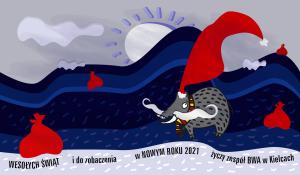 na ilustracji z życzeniami świątecznymi dzik w czerwonej czapce Mikołaja wędruje po Górach świętokrzyskich i rozdaje prezenty