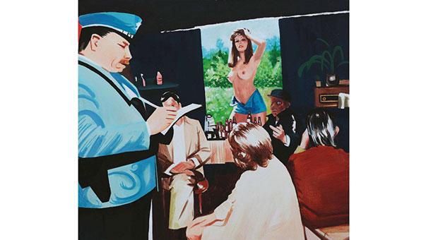 """""""Policjant wypisuje mandat wkawiarni"""""""
