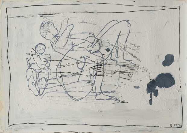 JK_Bez tytułu, sgraffito, akwarela, 50x70 cm, 2020