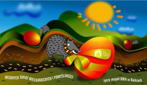 Na ilustracji dzik w szaliku czerwono żółtym toczy czerwone jajo przez Góry świętokrzyskie. Karta świąteczna, ilustracja kolorowa, cyfrowa w poziomie, autor Monika Cybulska/marzec 2021/BWA Kielce.